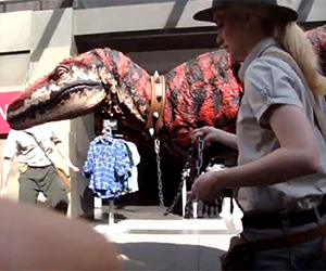 Velociraptor Checking Out a Mall