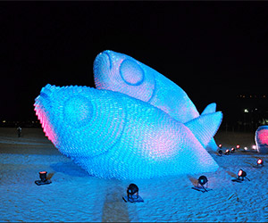 Fish Sculptures on the Beach in Rio