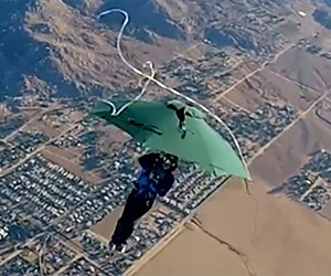 Skydiving With an Umbrella